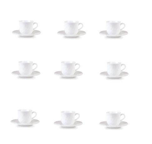 Бели порцеланови кафеени чаши 6 броя с оранж кант в кутия и за алкохол