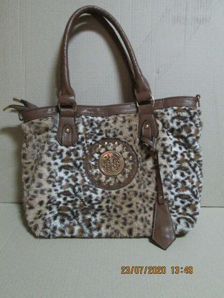 Poseta dama, model deosebit, imitatie blana leopard si piele ecologica