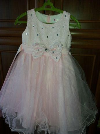 Платье розовое на 7-8лет