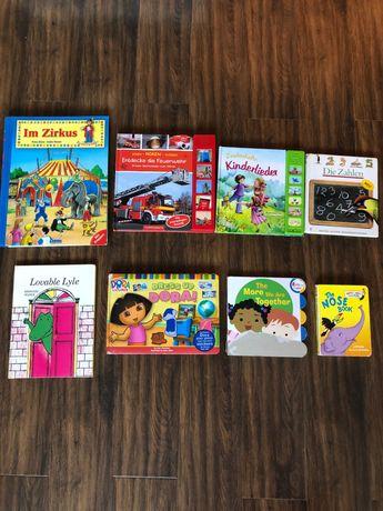 Много книжки на английски и немски,Дора,музикални,с отварящи капачета.
