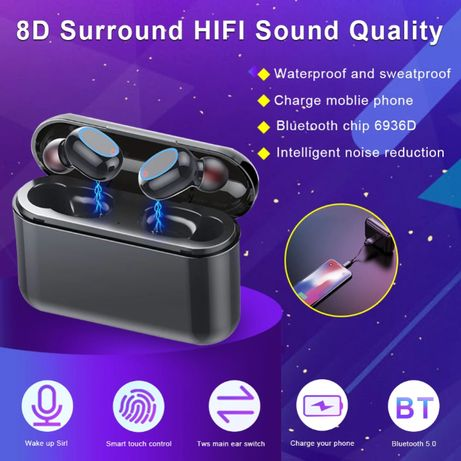 Bluetooth HD стерео слушалки 2600 mAh 8D TWS IPX5