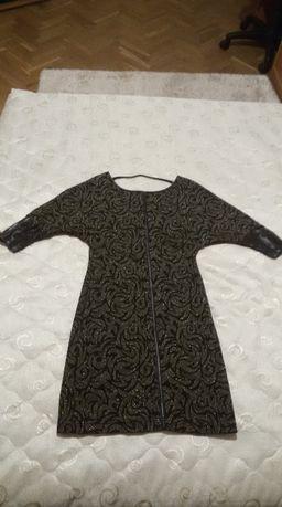 Къса златисто-черна рокля Lucy Fashion
