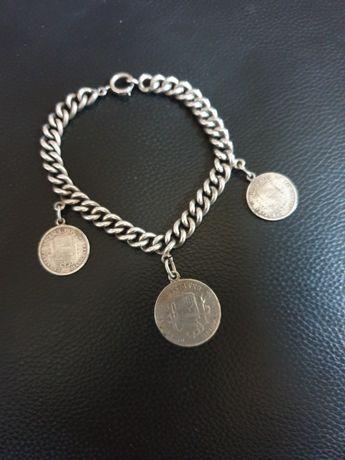 Brățară masiva argint monezi vechi