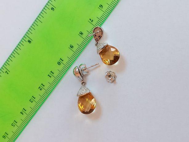 Cercei aur alb, diamante si citrin (cod ekymv 35)