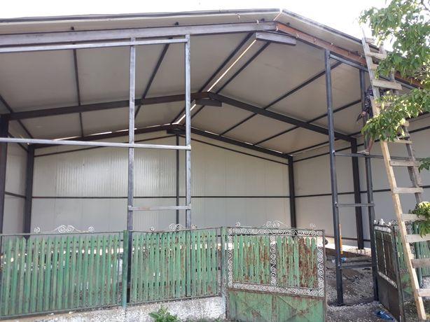 Vând hala metalică 10m×20m×4m 5 bucăți ferme la 10m deschidere și 10 s