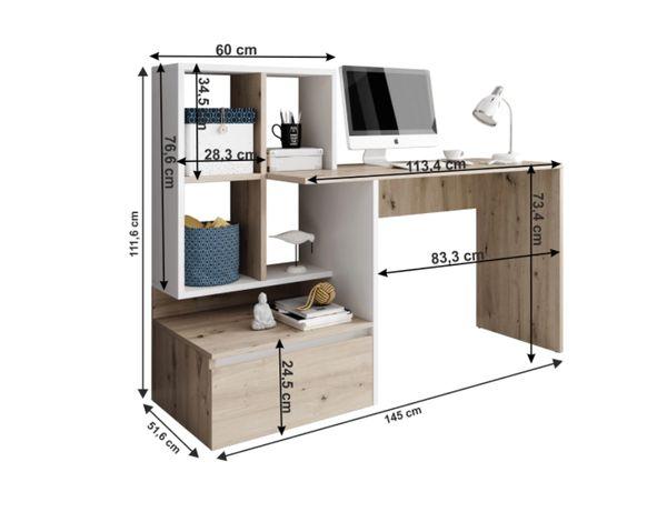 Masa PC cu etajera pentru depozitare stejar artisan alb mat 145x111,6x