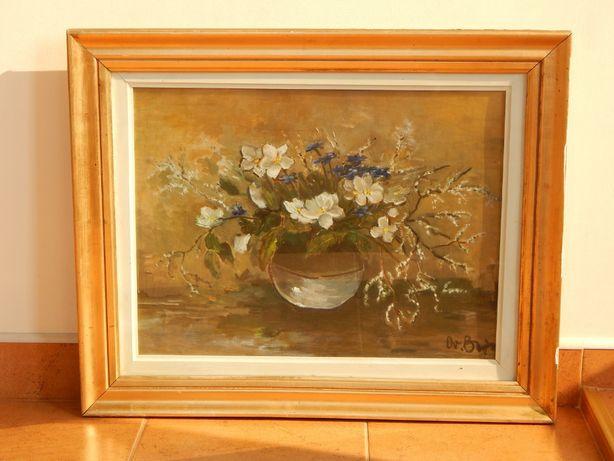 Tablou pictura vaza cu flori natura statica cu geam protectie 69x56 cm