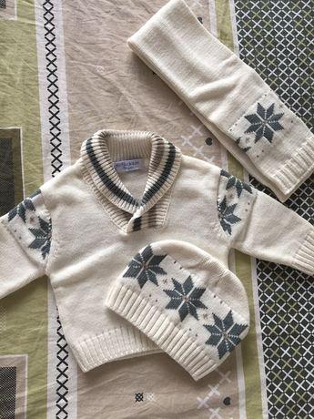 Set băiețel, căciuliță, pulover și fular