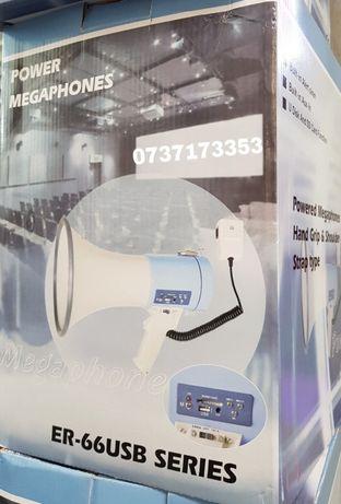 Megafon Portavoce Reincarcabila cu Sirena 25-50W ER-66USB