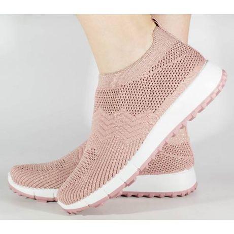 Pantofi sport slip-on roz tricotati elastic 138174