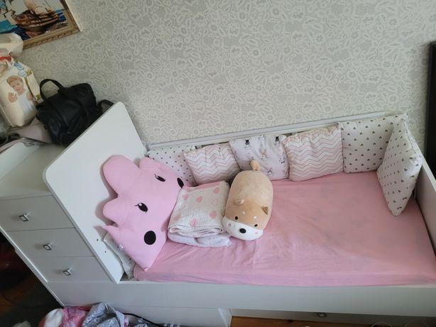 Кроватка трансформер фея 1100 + вещи до года