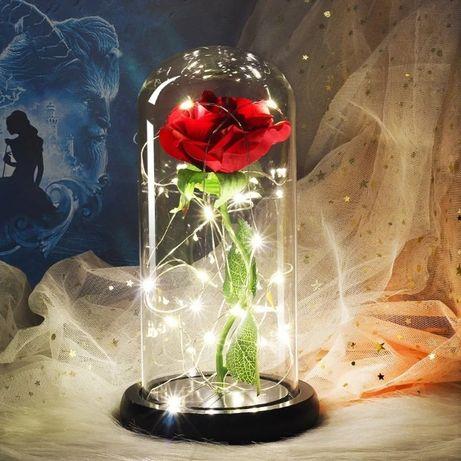 Роза в стъкленица светеща