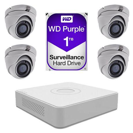 Sistem supraveghere video 4 camere 5MP Hikvision, 4K UltraHD + 1TB HDD