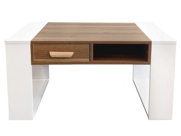 Birou/masa pal melaminat, aspect lemn de nuc, alb/maro, 90 x 60 x 45