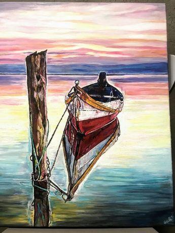 маслена картина лодка и море