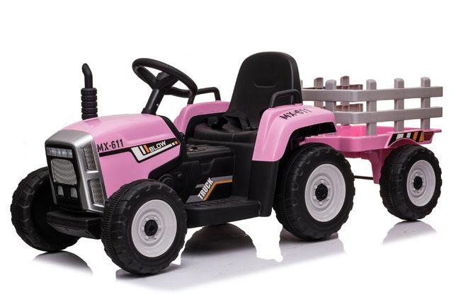 Tractor electric pentru copii BJ611 70W 12V cu Remorca inclusa #Roz