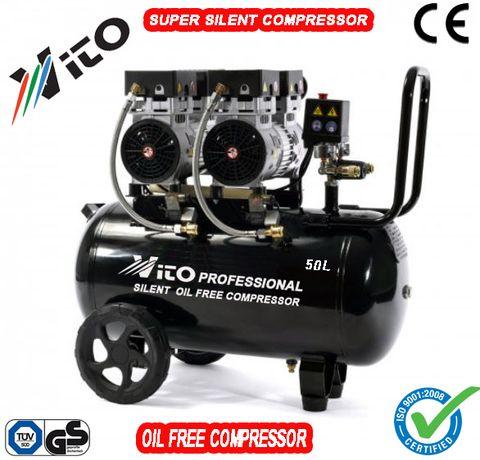50 литра Супер тих Безмаслен компресор за въздух VITO с 2 мотора 1,1Кw