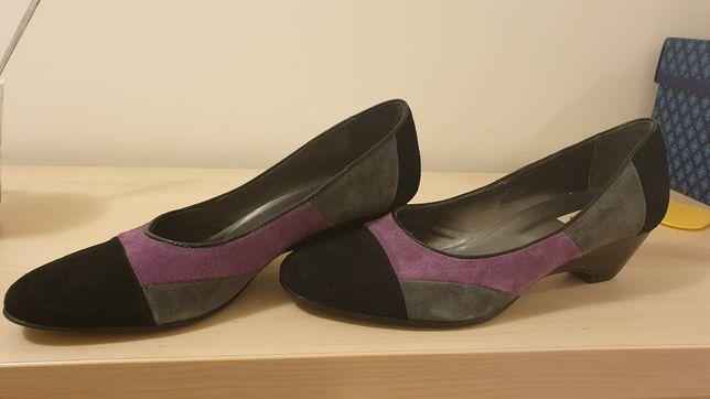 Pantofi piele întoarsă negru cu mov, 40