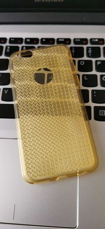 Husa spate silicon Iphone 6/6S Gold Soft TPU Case Sparkle Bling