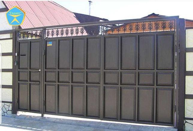 Усиленные ворота распашные, откатные. Заборы из профнастила усиленные.