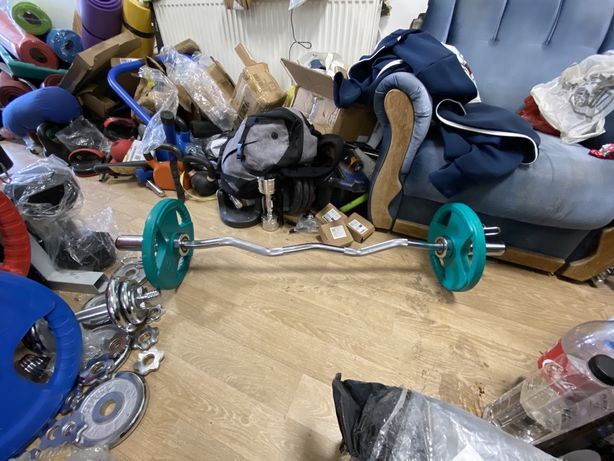 Bara olimpica haltera Bara z+2 discuri de cate 5+5 kg noi Germany.