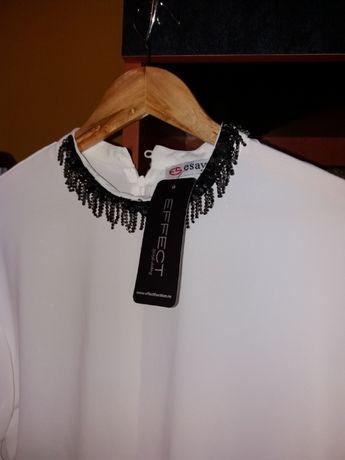 Reducere pret bluză ocazie deoseb-eticheta,brodata manual, albă, mătas