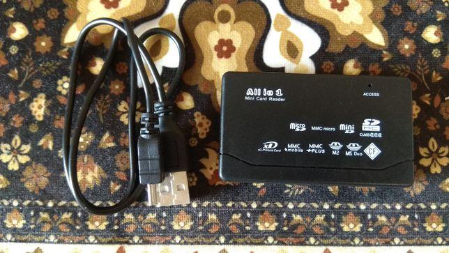 Универсальный USB-картридер: SD/MMC, microSD, xD, CF I, MS, M2