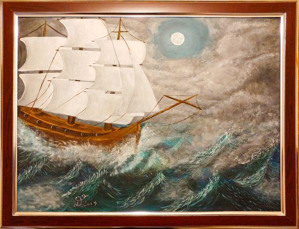 """Tablou / pictura 30x40 cm corabie """"Furtuna pe mare"""""""