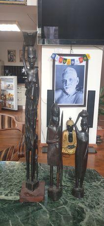 Set statui arta africana din abanos 63-38-36 cm
