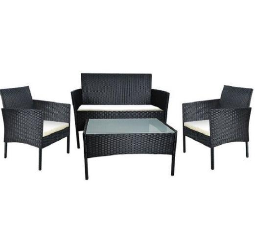 Елегантни ратанови мебели Сет от маса 2 стола и канапе
