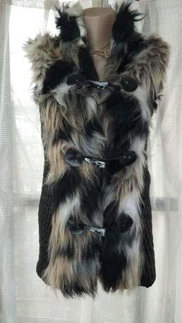 Дамски елек с кожа