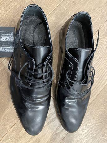 pantofi noi piele, DIESEL, marime 41, negri