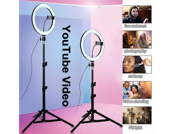 "Селфи Ринг LED 26см 10"" Стойка за Телефон 65-210см Статив Live Видео"