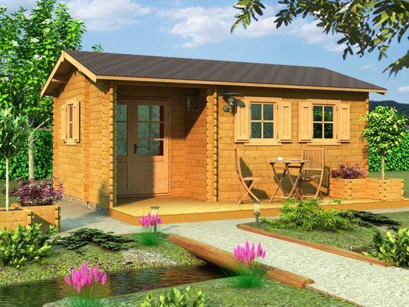 Сглобяеми дървени преместваеми къщи масив 22м2 - дървени бунгала масив
