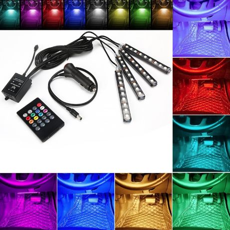 4бр LED Диодни Светлини Ленти Осветление за Екстериор Интериор 8 цвята