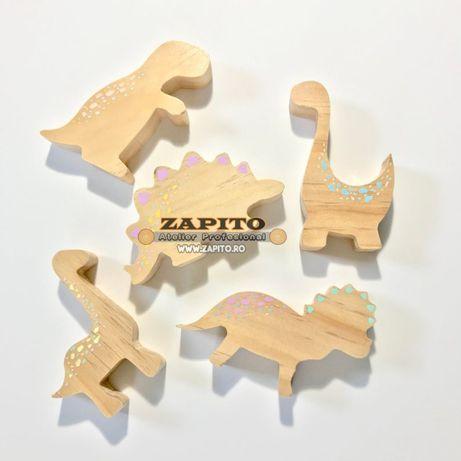 Set 5 dinozauri dino din lemn pastelati - figurine montessori