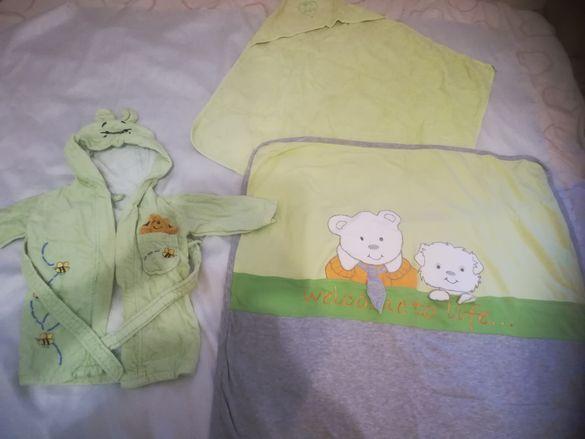 Бебешки одеало и хавлийка в зелено