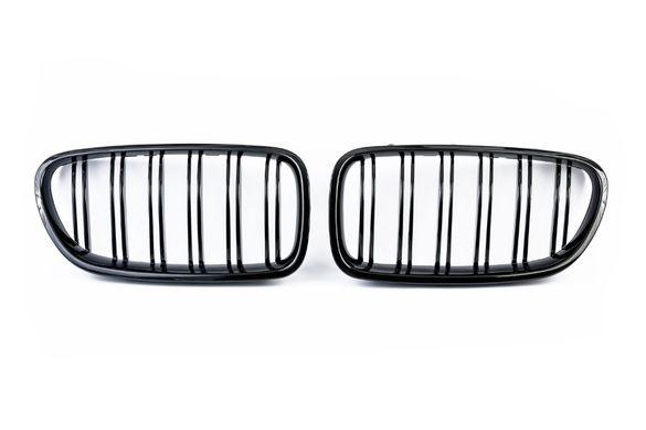 Двойни Бъбреци Решетки За БМВ BMW E60 E61 Черен Гланц Лак М5 Тип