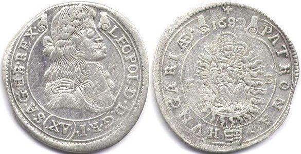 Монета 15 Кройцера император Леополд ( 1682 година )