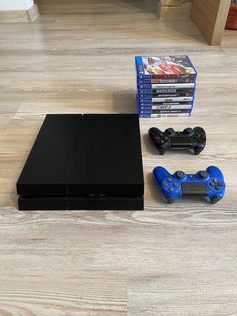 PS 4  - playstation 4  impecabil  plus 10 jocuri si 2 manete