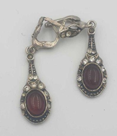 vand cercei vechi cu rubin si diamante