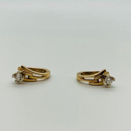 Серьги с бриллиантом , золото 585 Россия, вес 2.74 г. «Ломбард Белый»