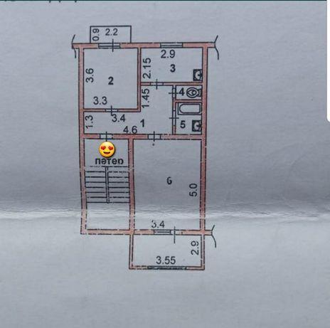 2 комнатный квартира с  Лоджия и Балкон. Кирпичный не угловой
