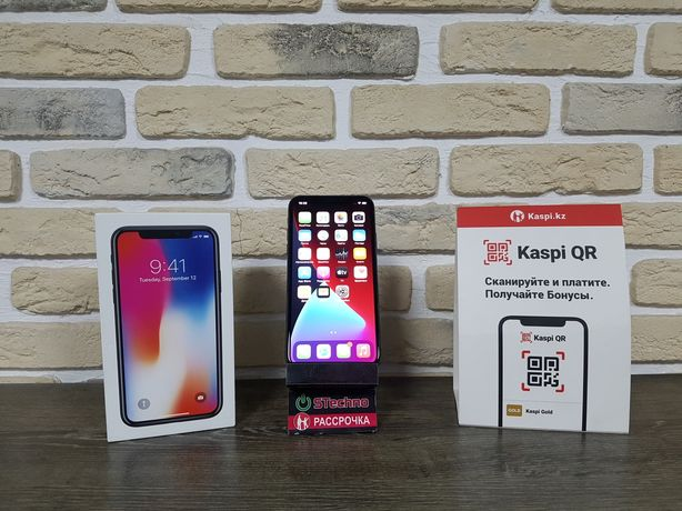 Смартфон Apple iPhone X 64GB Black Рассрочка KASPI RED!Гарантия!