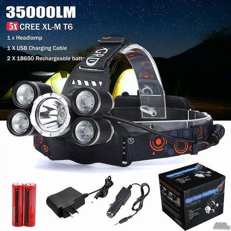 Фенер - челник за глава, Акумулаторен, 5 LED диода,зарядно 220 V