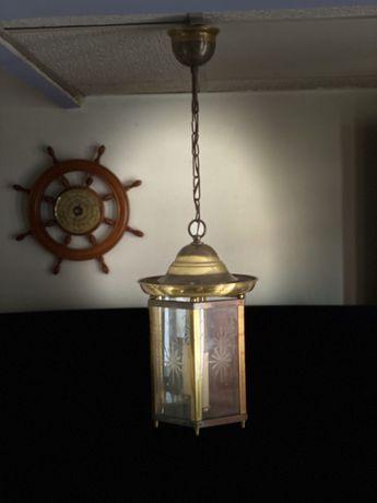 1705at Lampa veche de tavan din alama Art Deco