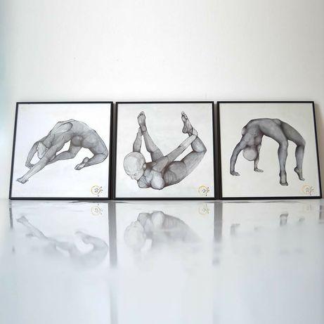 Tablou panza pictat manual nud