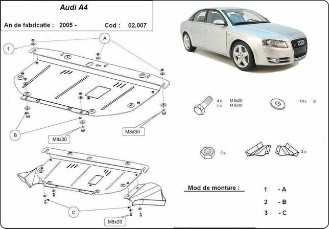 Scut metalic pentru motor Audi A4 2005-2008 - otel 2mm