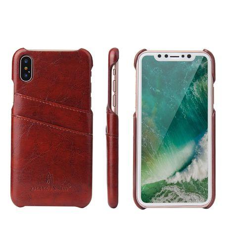 Husa iPhone X / XS, piele fina CaseMe, back cover, maro coniac, gri