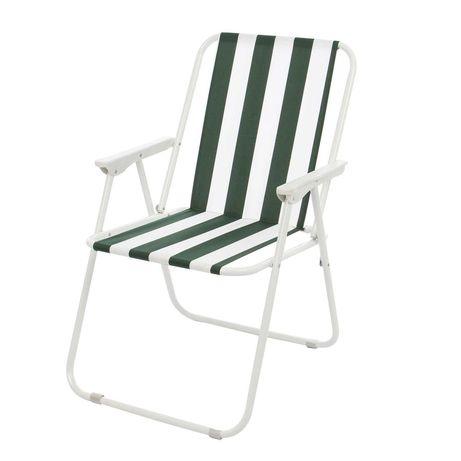 Scaun camping pliant, structura metalica, verde+alb, 50 x 54 x 79 cm
